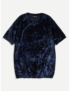 Men Crushed Velvet Tee by Shein
