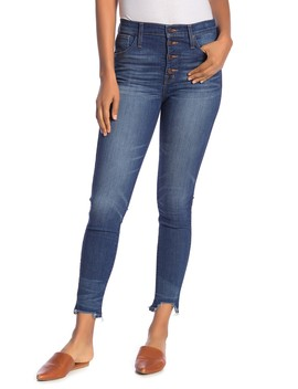 Distressed High Rise Button Skinny Jeans by Madewell