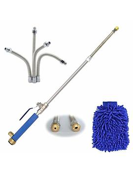 Hydro Jet Power Washer Wand – High Pressure Water Hose Attachment Nozzle, Flexible Glass Cleaner, Extendable Garden Watering Sprayer For Hurricane Storm, Car Wash, Window Washing, 2 Tips 27 Inch by Dmcshop