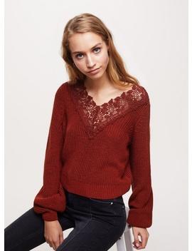 Rust Crochet Trim Jumper by Miss Selfridge