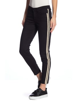 Mid Rise Stripe Skinny Jeans by Sp Black