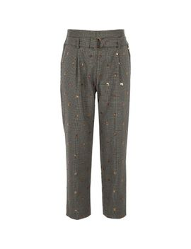 Girls Grey Check Sequin Trousers by River Island
