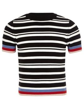 Mini Girls Black Stripe Fitted T Shirt by River Island