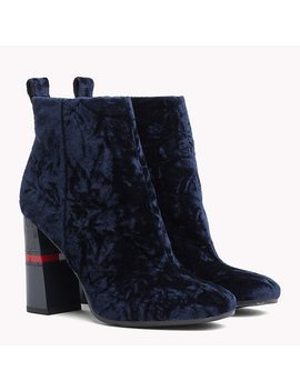 Crushed Velvet Ankle Boots by Tommy Hilfiger