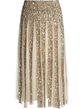 Pleated Sequined Tulle Skirt by Alice + Olivia
