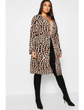 Plus Leopard Print Belted Duster Coat by Boohoo
