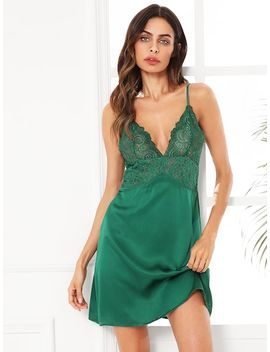 Scalloped Lace Panel Cami Nightdress by Shein