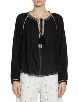 Rina Contrast Stich Peasant Top by Isabel Marant Etoile