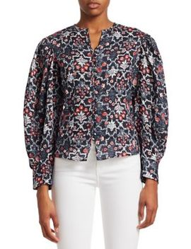 Tilo Long Sleeve Printed Linen Blouse by Isabel Marant Etoile
