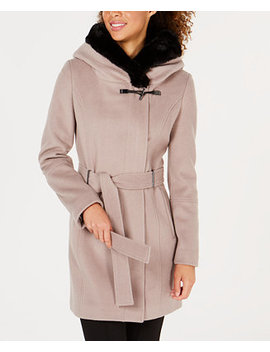 Belted Faux Fur Trim Coat by Calvin Klein