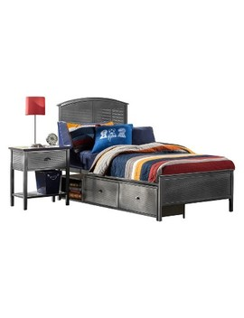 Urban Quarters Metal Panel Storage Bed   Twin   Black Steel   Hillsdale Furniture by Hillsdale Furniture