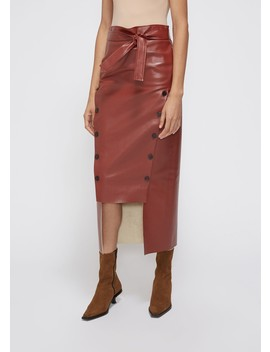 Double Button Front Tie Waist Skirt by A.W.A.K.E.