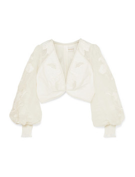 Corsage Cropped Embroidered Linen And Silk Blend Canvas Top by Zimmermann
