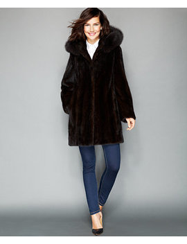 Fox Trimmed Hooded Mink Coat by The Fur Vault