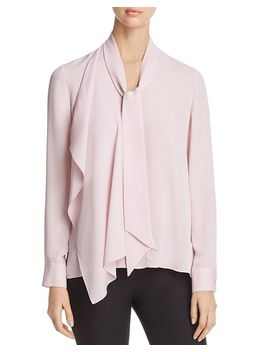 Marzy Tie Neck Silk Blouse by Elie Tahari