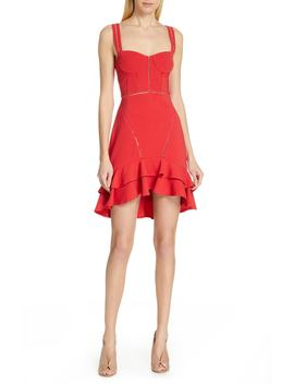 Sheer Trim Ruffled Crepe Minidress by Jonathan Simkhai
