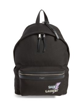 Lightning Logo City Backpack by Saint Laurent