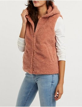 Faux Shearling Hooded Vest by Charlotte Russe