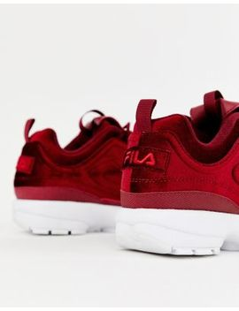 Fila Burgundy Disruptor Ii Premium Velour Trainers by Fila