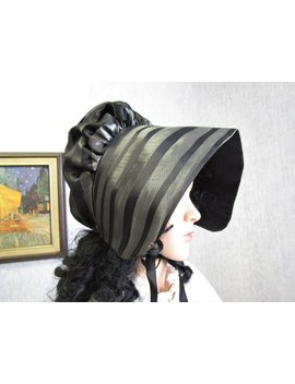 Adult Upcycled Taffeta Victorian Bonnet Prairie Hat Silver Gray Black by Etsy
