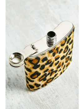 Leopard Print Hip Flask by Urban Outfitters