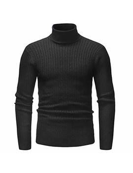 Uugye Men Basic Solid Twisted Knitted Turtleneck Pullover Sweater by Uugye Men