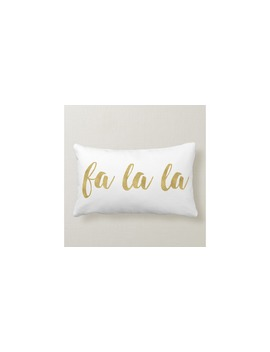 Modern Hand Lettered  Fa La La Christmas Holiday Lumbar Pillow by Homedecormarket