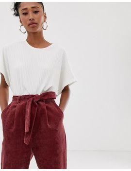 Pantalones Tapered Con Cintura Anudada De Pana Gruesa De Asos Design by Asos