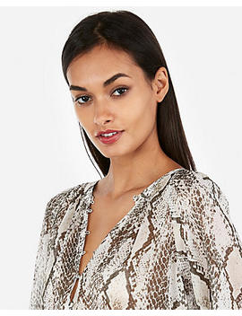 Snake Print Button Front Banded Sheer Blouse by Express