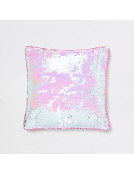 Pink And Silver Sequin Cushion by River Island