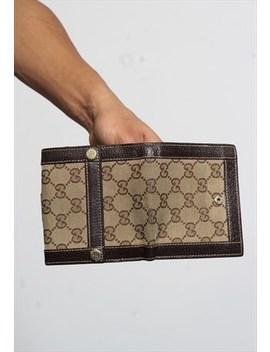 Vintage Rare Gucci Gg Monogram Wallet Brown by Gucci