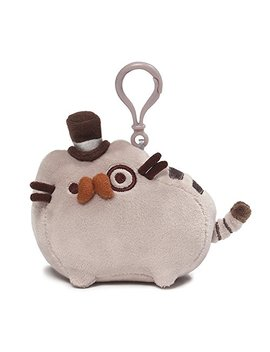 "Gund Pusheen Fancy Cat Plush Stuffed Animal Backpack Clip, Gray, 4.5"" by Gund"
