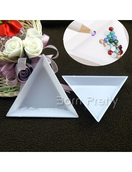 2 Pcs Nail Art Stud Storage Display Plate Empty Triangular Plastic Plate Nail Art Manicure Tools by Born Pretty