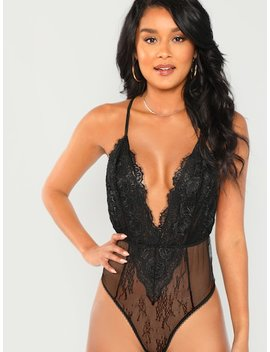 Plunging Neck Sheer Lace Cami Bodysuit by Shein