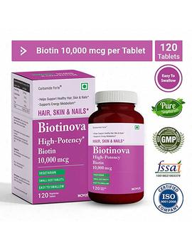 Carbamide Forte Biotin 10000 Mcg (High Potency) Supports Hair Growth And Strong Nails   Biotinova   120 Tablet by Carbamide Forte
