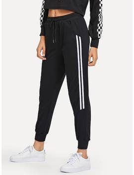 Drawstring Waist Contrast Trim Pants by Sheinside