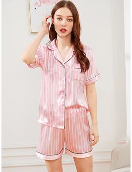 Striped Button Up Satin Pajama Set by Sheinside