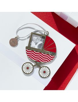 Baby Carriage Photo Frame Ornament With 2018 Charm by Crate&Barrel