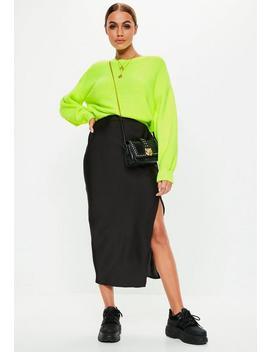 Black Satin Slip Midi Skirt by Missguided