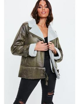 Green Contrast Borg Aviator by Missguided