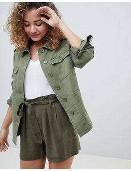 Miss Selfridge – Khakifärgad Skjortjacka I Arbetarmodell by Asos