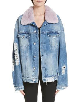 Rocky 2 Denim Jacket With Genuine Orylag® Rabbit Fur Trim by Alchemist