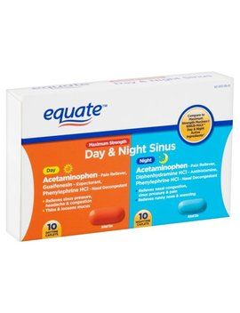 Equate Maximum Strength Day & Night Sinus Caplets, 20 Count by Equate