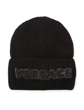Men's Fold Over Beanie With Logo Applique by Versace