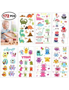 Konsait Temporary Tattoos For Kids, 172 Assorted Pirate Dinosaur Monsters Temporary Tattoos For Boys Girls Children Party Favors Birthday Gifts Toys Party Bags Filler by Konsait