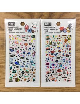 Bts Bt21 Official Authentic Goods Nail Sticker Press Me Edtion 2 Set +Track Num by Bt21