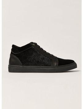 Black Velvet Hi Top Boots by Topman