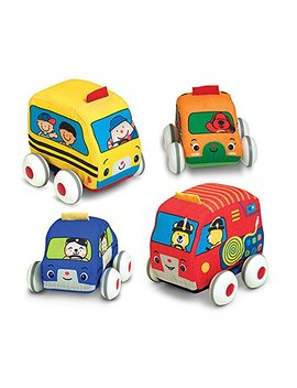 Melissa & Doug K's Kids Pull Back Vehicle Set   Soft Baby Toy Set With 4 Cars And Trucks And Carrying Case by Melissa & Doug