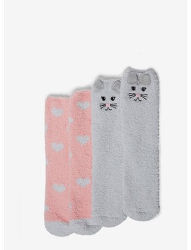 Grey And Pink 2 Pack Cat Cosy Socks by Dorothy Perkins