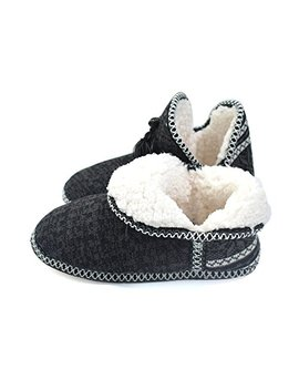 Coface Ladies Womens Indoor Knitted Slipper Boots With Cosy Faux Fur Lined Non Slip Sole by Coface